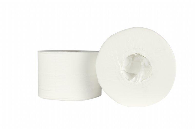 Voordelig toiletpapier HPG coreless ( zonder kern ) voor Jumbo Mini rolhouder 2 laags / professionele kwaliteit voor schoonmaakbedrijven en groot verbruikers