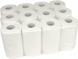 Mini poetsrol 1 laags 20cm x 120 meter op rol en 12 rollen per doos / voor mini handdoekrol dispenser
