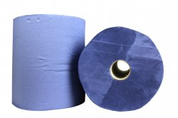 Kwaliteit industrierol blauw 2-laags verlijmd 36cm x 380 meter per rol en 2 rollen per folie / voor werkplaatsen, industrie, productiebedrijven en laboratorium