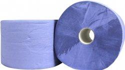 Papieren Industrierol blauw 2 laags verlijmd 22cm x 380 meter per rol en 2 rollen per folie