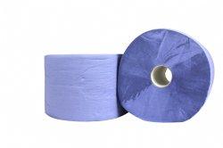Dikke kwaliteit industrierol 3 laags verlijmd blauw 22cm x 380 meter per rol en 2 rollen per folie