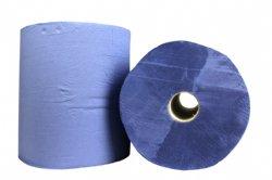 Industrierol papier blauw 3 laags verlijmd 36cm x 180 meter per rol en 2 rollen per folie