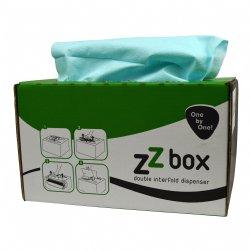 Softdoek Supertex lichtblauw 42x30cm interfold 2 x 100 doeken per box / professionele kwaliteit voor de beste prijs