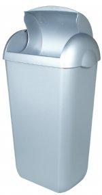 Kunststof  hygiëne afbak RVS look 23 liter PlastiQline PQH23M voor sanitaire gebouwen of toilet groepen