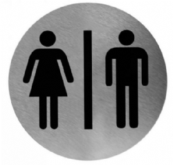 Pictogram man/vrouw RVS rond model PS0001CS Mediclinics