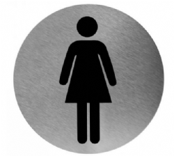 Pictogram VROUW RVS rond model PS0002CS Mediclinics
